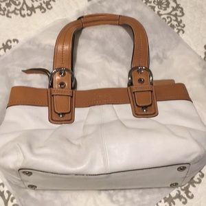 White and tan leather Authentic Coach shoulder bag